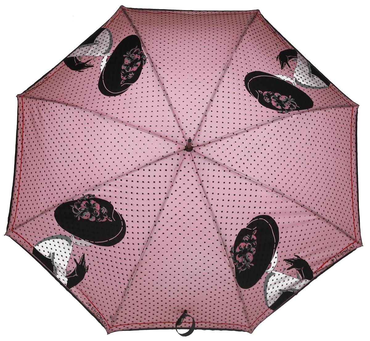 Зонт женский Flioraj, механика, трость, цвет: розовый, черный. 121202 FJREM12-CAM-GREENBLACKЭлегантный зонт Flioraj выполнен из высококачественного полиэстера, не пропускающего воду. Уникальный каркас из анодированной стали, карбоновые спицы помогут выдержать натиск ураганного ветра. Улучшенный механизм зонта, максимально комфортная ручка держателя, увеличенный в длину стержень, тефлоновая пропитка материала купола - совершенство конструкции с изысканностью изделия на фоне конкурентоспособной цены.