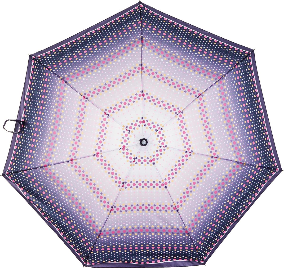 Зонт женский Henry Backer, 3 сложения, цвет: фиолетовый. U26203 PeasБусы-ниткаНарядный женский зонт «Горох», автоматНаряду со сталью для каркаса использован алюминий и фибергласс, поэтому зонт достаточно легкий для зонтов-автоматов.