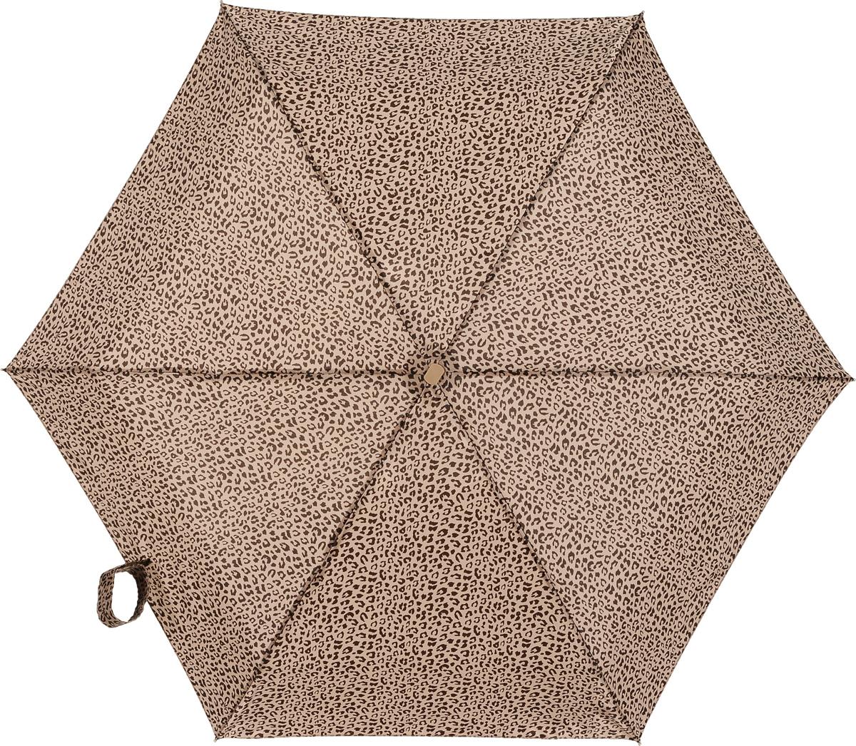 Зонт женский Fulton, механический, 5 сложений, цвет: бежевый, коричневый. L501-2746Колье (короткие одноярусные бусы)Компактный женский зонт Fulton выполнен из металла, пластика и оформлен леопардовым принтом.Каркас зонта выполнен из шести спиц на прочном стержне. Купол зонта изготовлен прочного полиэстера. Закрытый купол застегивается на липучку хлястиком. Практичная рукоятка закругленной формы разработана с учетом требований эргономики и выполнена из натурального каучука.Зонт складывается и раскладывается механическим способом.Такой зонт не только надежно защитит от дождя, но и станет стильным аксессуаром.