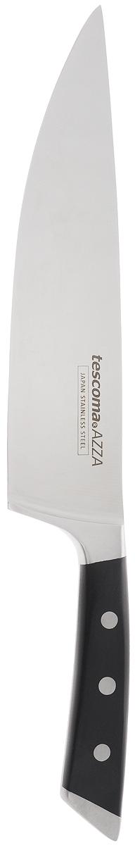 Нож кулинарный Tescoma Azza, длина лезвия 20 см89190Цельнокованый кулинарный нож Tescoma Azza, выполненный из высококачественной нержавеющей стали 18/10, соответствует всем гигиеническим требованиям и дополнен эргономичной ручкой с противоскользящим пластиковым покрытием. Нож с длинным широким клинком обеспечивает комфортную работу и быструю нарезку. Лезвие сформировано и заточено вручную. Кулинарный нож Tescoma Azza займет достойное место среди аксессуаров на вашей кухне.Можно мыть в посудомоечной машине.Длина ножа: 33,5 см.Длина лезвия: 20 см.