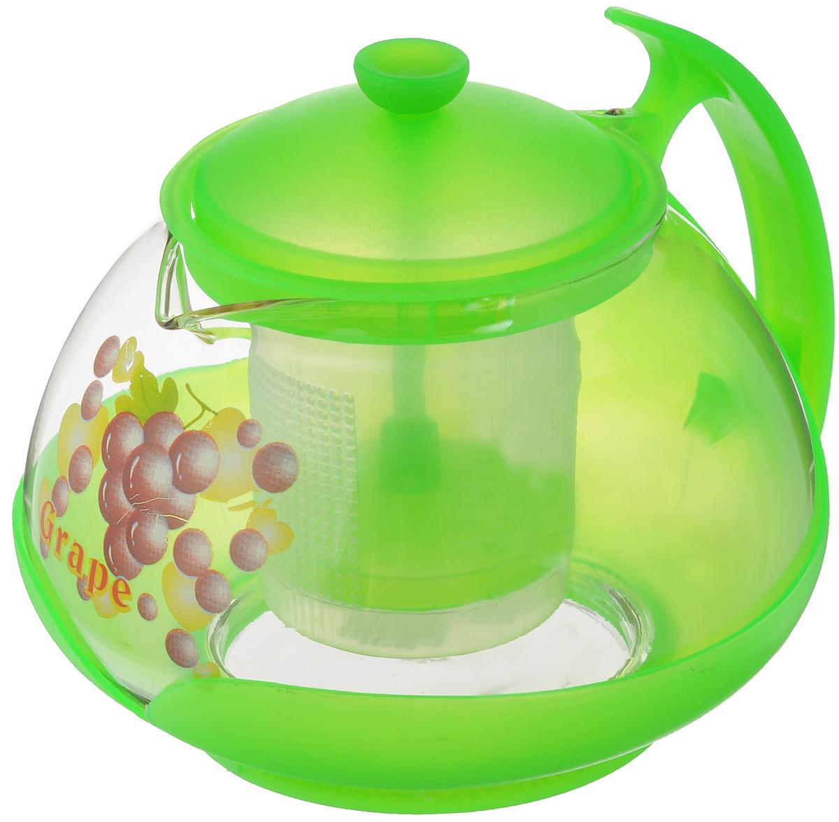 Чайник заварочный Mayer & Boch, с фильтром, цвет: прозрачный, салатовый, 700 мл. 2022115510Заварочный чайник Mayer & Boch изготовлен из жаропрочного стекла и полипропилена. Изделие оснащено сетчатым фильтром из пищевого полипропилена (пластика), который задерживает чаинки и предотвращает их попадание в чашку, а прозрачные стенки дадут возможность наблюдать за насыщением напитка.Чай в таком чайнике дольше остается горячим, а полезные и ароматические вещества полностью сохраняются в напитке. Диаметр чайника (по верхнему краю): 8 см.Высота чайника (без учета крышки): 9,5 см.Высота фильтра: 6,5 см.