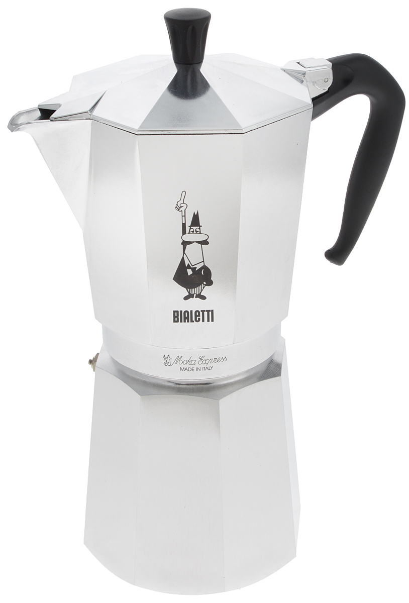 Кофеварка гейзерная Bialetti Moka Express, на 18 чашекTL-100Стильный дизайн гейзерной кофеварки Bialetti Moka Express станет ярким элементом интерьера вашего дома! Кофеварка выполнена из алюминия, а ручка - из пластика.Объема кофе хватает на 18 чашек. Принцип работы такой гейзерной кофеварки - кофе заваривается путем многократного прохождения горячей воды или пара через слой молотого кофе. Удобство кофеварки в том, что вся кофейная гуща остается во внутренней емкости. Гейзерные кофеварки пользуются большой популярностью благодаря изысканному аромату. Кофе получается крепкий и насыщенный. Теперь и дома вы сможете насладиться великолепным эспрессо.Высота кофеварки (с учетом крышки): 31 см.Диаметр основания: 12 см.