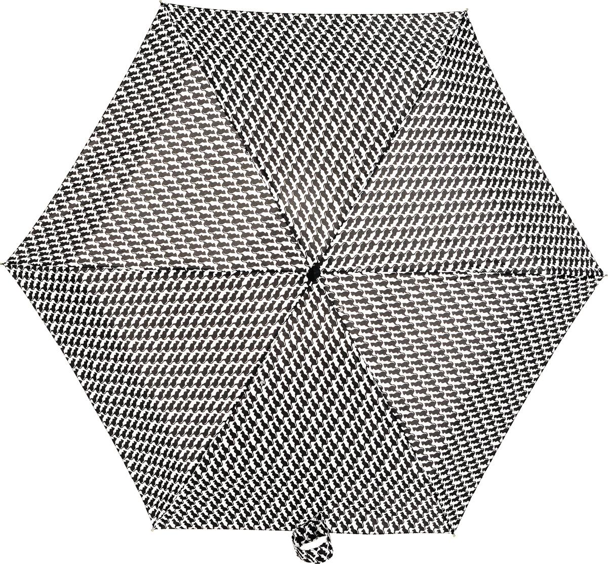 Зонт женский Fulton, механический, 5 сложений, цвет: черный, белый. L501-3020П250071001-22Компактный женский зонт Fulton выполнен из металла, пластика.Каркас зонта выполнен из шести спиц на прочном стержне. Купол зонта изготовлен из прочного полиэстера. Закрытый купол застегивается на липучку с хлястиком. Практичная рукоятка закругленной формы разработана с учетом требований эргономики и выполнена из натурального каучука.Зонт складывается и раскладывается механическим способом.Такой зонт не только надежно защитит от дождя, но и станет стильным аксессуаром.
