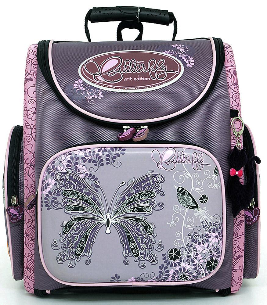 Ранец школьный Hummingbird Butterfly, цвет: фиолетовый, розовый. K34K32Эргономичный школьный ранец с жесткой конструкцией Hummingbird Butterfly выполнен из современного пористого EVA материала, отличающегося легкостью и долговечностью. Изделие оформлено изображением бабочки и дополнено мягким брелоком в форме машинки, хлястики на бегунках молний выполнены также в форме бабочек.Ранец имеет одно основное отделение, закрывающееся на молнию. Ранец полностью раскладывается. Внутри главного отделения расположены: накладной сетчатый карман, два накладных кармана с жесткими стенками и резинкой-фиксатором, два накладных пластиковых кармашка. Пластиковые кармашки предназначены для расписания урокови для вкладыша с адресом и ФИО владельца(вкладыши для заполнения идут в комплекте). На лицевой стороне ранца расположен накладной карман на молнии, который содержит: пять накладных кармашков для письменных принадлежностей и мелочей (один из кармашков сетчатый на молнии), карабин для ключей и карман для телефона на липучке. По бокам ранца размещены два дополнительных накладных кармана на молниях.Рельеф спинки ранца разработан с учетом особенности детского позвоночника.Ранец оснащен эргономичной ручкой для переноски, двумя широкими лямками, регулируемой длины, и петлей для подвешивания. Дно ранца выполнено из натуральной кожи и защищено пластиковыми ножками.В комплекте с изделием поставляется мешок для сменной обуви, выполненный в единой цветовой гамме с ранцем. Мешок оснащен сетчатой вставкой.Многофункциональный школьный ранец Hummingbird Butterfly станет незаменимым спутником вашего ребенка в походах за знаниями.