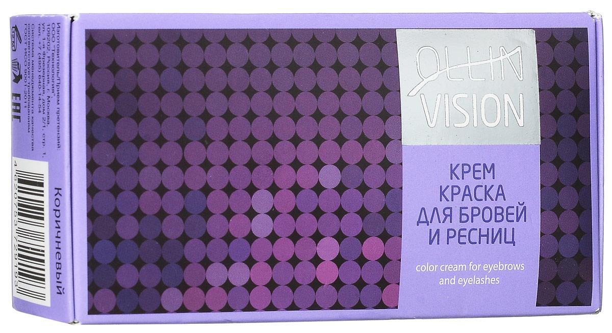 Ollin Крем-краска для бровей и ресниц (коричневый) Vision Set Color Cream For Eyebrows And Eyelashes (Brown) 20+20 мл (в наборе)706851Крем-краска для бровей и ресниц Ollin Vizion Color Cream обеспечивает стойкий результат окрашивания бровей и ресниц. Отличные характеристики в работе. Формула на основе исключительно активных пигментов высочайшего качества гарантирует получение однородного, стойкого цвета.В комплект крем-краски для бровей и ресниц Ollin Vision входит: Крем-краска, 20 мл. Окислитель, 15 мл. Защитные листочки для век. Цвет: коричневыйОбъём: 20 мл