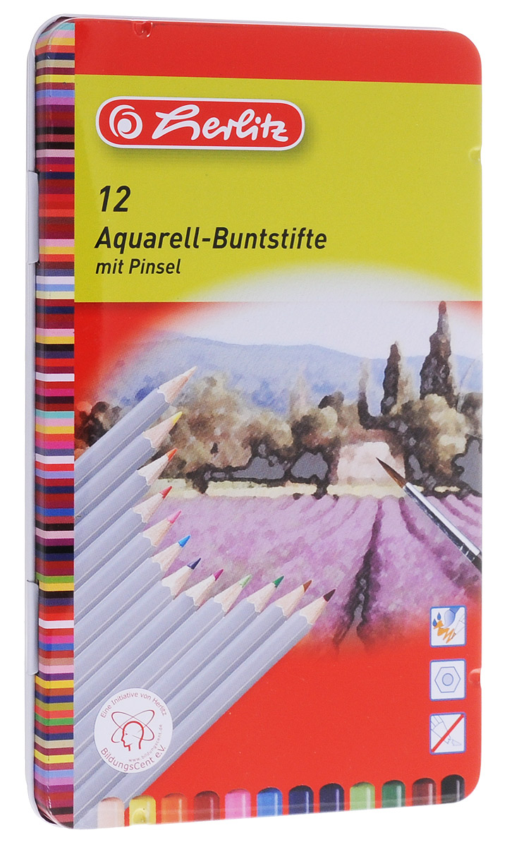 Herlitz Набор карандашей акварельных 12 цветовB33124_без точилкиНабор акварельных карандашей Herlitz поможет создать чудные картины.При размывании кисточкой водой карандаши создают эффект рисунка акварелью. Яркие цвета линий, штрихи мягко ложатся на бумагу, грифель устойчив к механическим деформациям, легко затачивается.В набор входят 12 цветных карандашей и кисточка.Прочная металлическая коробка, в которую вложен набор, не позволит карандашам растеряться и заметно продлевает их срок службы.