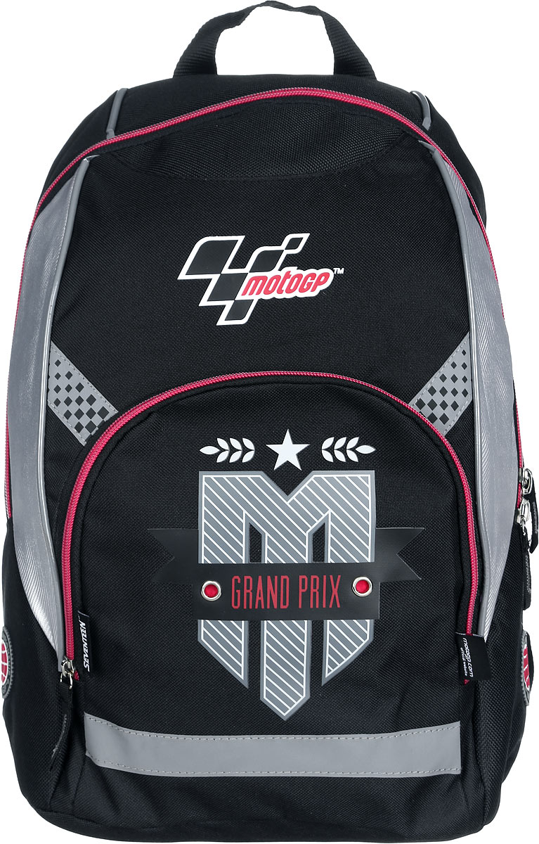 MotoGP Рюкзак детский Grand Prix цвет черный серый красный730396Детский рюкзак MotoGP Grand Prix выполнен из водонепроницаемого, износостойкого материала.Рюкзак состоит из вместительного отделения, закрывающегося на застежку-молнию с двумя бегунками. Ближе к спине рюкзак оснащен мягким карманом с хлястиком на липучке для различных гаджетов. На лицевой стороне расположен небольшой накладной карман на молнии. Мягкие широкие лямки позволяют легко и быстро отрегулировать рюкзак в соответствии с ростом. У рюкзака предусмотрена удобная текстильная ручка для переноски в руке.Светоотражающие элементы имеют высокие светоотражающие свойства во всех направлениях и при различных углах к источникам освещения, что обеспечивает безопасность в темное время суток.Этот рюкзак можно использовать школьникам, для повседневных прогулок, отдыха и спорта, а также как элемент вашего имиджа.Рекомендуемый возраст ребенка: от 10-12 лет.