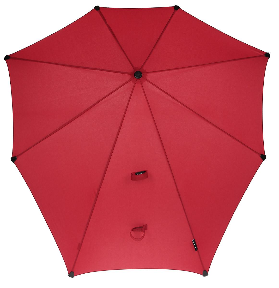 Зонт-трость Senz, цвет: красный. 201104745100032/35449/3537AЗонт-трость Senz - инновационный противоштормовый зонт, выдерживающий любую непогоду. Форма купола продумана так, что вы легко найдете самое удобное положение на ветру - без паники и без борьбы со стихией. Закрывает спину от дождя. Благодаря своей усовершенствованной конструкции, зонт не выворачивается наизнанку даже при сильном ветре. Модель Senz Original выдержала испытания в аэротрубе со скоростью ветра 100 км/ч.Характеристики: тип - трость, выдерживает порывы ветра до 100 км/ч, УФ-защита 50+, удобная мягкая ручка, безопасные колпачки на кончиках спиц, в комплекте прочный чехол из плотной ткани с лямкой на плечо, гарантия 2 года.