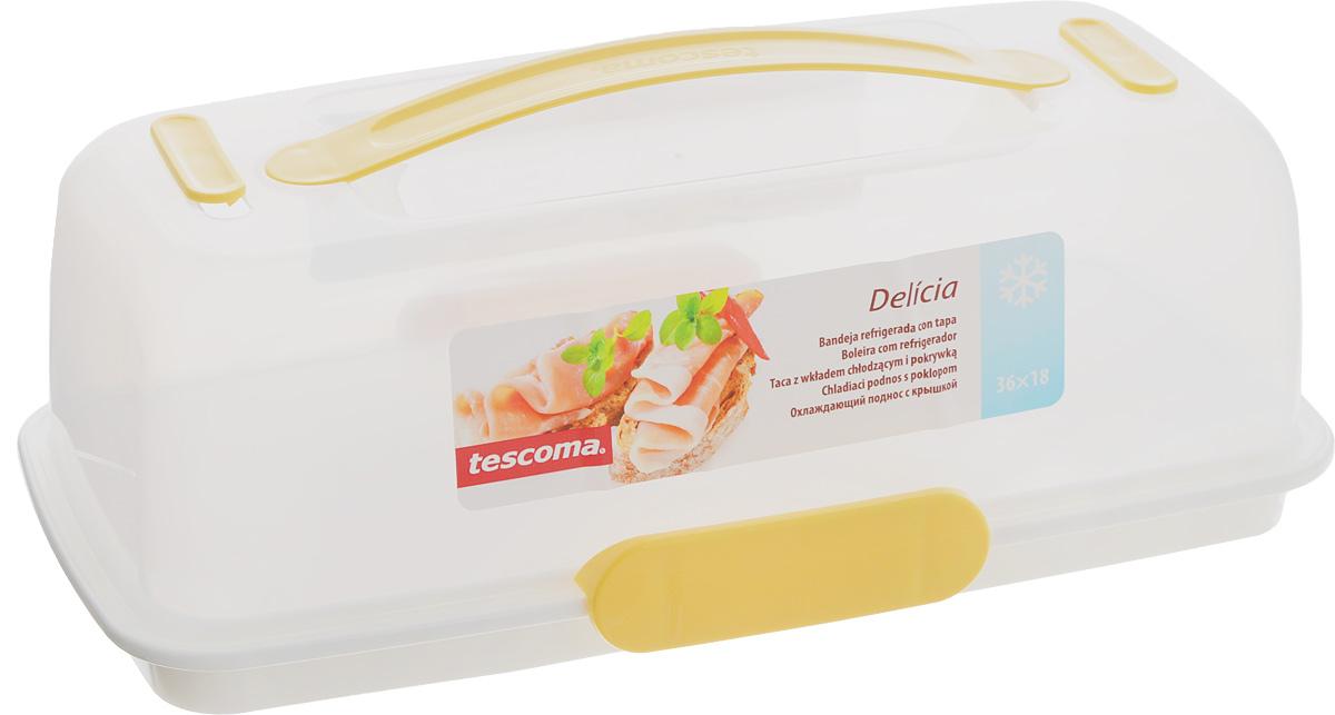 Тортовница-поднос с охлаждающим эффектом Tescoma Delicia, с крышкой, 36 x 18 см630844Поднос Tescoma Delicia изготовлен извысококачественного прочного пластика. Он оснащенпрозрачной крышкой и охлаждающим вкладышем.Отлично подходит для переноса иподачи тортов, десертов, канапе, бутербродов, фруктов.Благодаря специальному вкладышу блюда дольшеостаются охлажденными и свежими. Крышка фиксируется на подносе за счет двух зажимов,а удобная ручка позволяет переносить поднос с местана место. Можно мыть в посудомоечной машине, кромеохлаждающего вкладыша. Размер подноса: 36 х 18 см. Высота подноса: 3 см. Высота крышки (без учета ручки): 10 см.Размер охлаждающего вкладыша: 13,5 х 13,5 х 1,5 см.