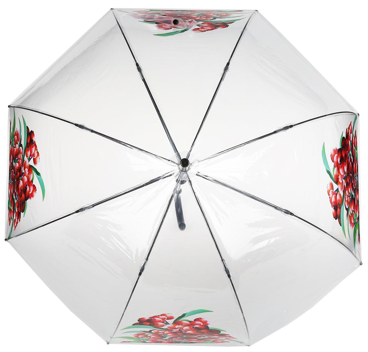 Зонт женский Flioraj, механика, трость, цвет: белый, красный. 121206 FJREM12-CAM-GREENBLACKЭлегантный зонт Flioraj выполнен из высококачественного полиэстера, не пропускающего воду. Уникальный каркас из анодированной стали, карбоновые спицы помогут выдержать натиск ураганного ветра. Улучшенный механизм зонта, максимально комфортная ручка держателя, увеличенный в длину стержень, тефлоновая пропитка материала купола - совершенство конструкции с изысканностью изделия на фоне конкурентоспособной цены.