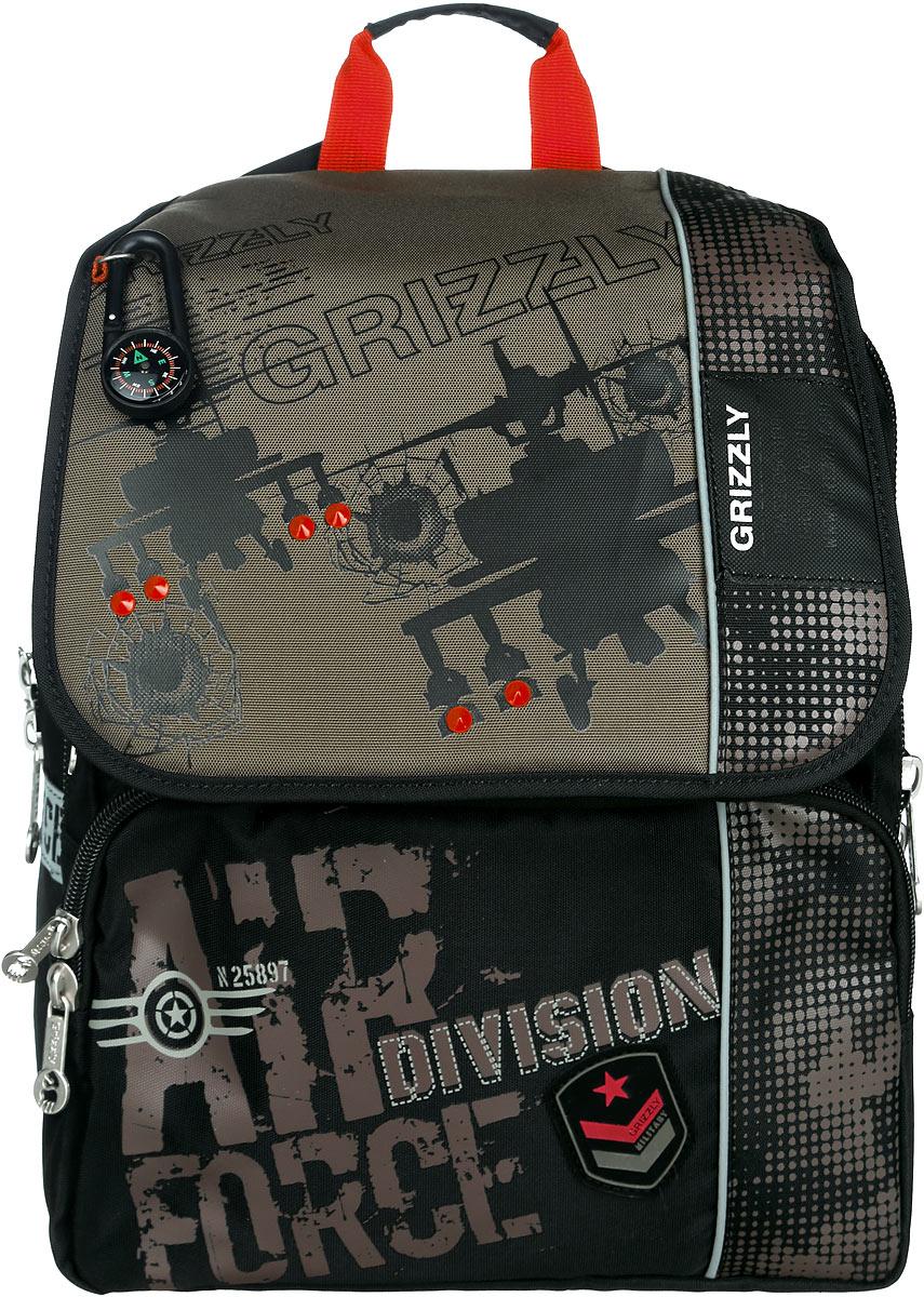 Grizzly Рюкзак детский Air Division ForceRA-671-1/2Детский рюкзак Grizzly Air Division Force - это стильный и удобный рюкзак, который подойдет всем, кто хочет разнообразить свои школьные будни. Рюкзак выполнен из плотного нейлона, оформлен оригинальным изображением и брелоком-компасом.Рюкзак содержит два вместительных отделения, закрывающихся на застежку-молнию с двумя бегунками и клапан на липучках. Внутри первого отделения находятся карман с сеткой на молнии и три небольших открытых кармашка. Во втором отделении имеется карман-сетка на резинке и пришивной карман на молнии. Дно рюкзака можно сделать жестким, разложив специальную панель с картонной вставкой, что повышает сохранность содержимого рюкзака и способствует правильному распределению нагрузки. На лицевой стороне рюкзака расположены два накладных кармана на молнии. Бегунки на изделии дополнены удобными металлическими держателями с логотипом Grizzly.Мягкие широкие лямки позволяют легко и быстро отрегулировать рюкзак в соответствии с ростом. Рюкзак оснащен удобной ручкой для переноски. Многофункциональный школьный рюкзак станет незаменимым спутником вашего ребенка в походах за знаниями.