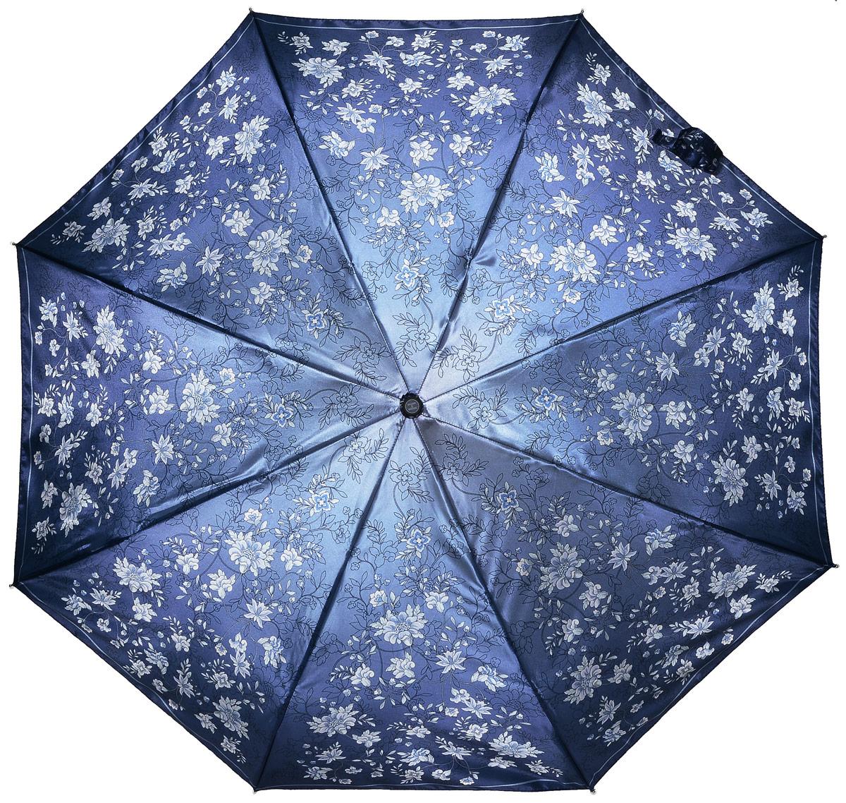 Зонт женский Henry Backer, 3 сложения, цвет: синий. U23206 Night flowersREM12-CAM-GREENBLACKЭлегантный женский зонт «Цветы ночью» с сатиновым куполом, автомат У зонта комфортная для ладони рукоять из нескользящего материала с насечками под пальцы, чтобы зонт было удобно удерживать при порывах ветра.