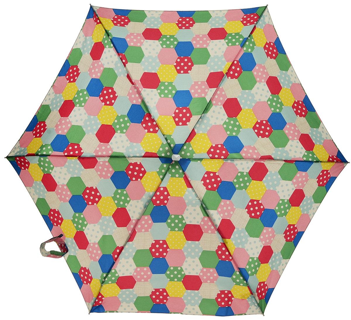 Зонт женский Fulton Cath Kidston, механический, 5 сложений, цвет: мультиколор. L521-2944REM12-CAM-GREENBLACKКомпактный женский зонт Fulton Cath Kidston выполнен из металла и пластика.Каркас зонта выполнен из шести спиц на прочном алюминиевом стержне. Купол зонта изготовлен из прочного полиэстера. Закрытый купол застегивается на хлястик с липучкой. Практичная рукоятка закругленной формы разработана с учетом требований эргономики и выполнена из натурального дерева.Зонт складывается и раскладывается механическим способом.Зонт дополнен легким плоским чехлом. Такая модель не только надежно защитит от дождя, но и станет стильным аксессуаром.