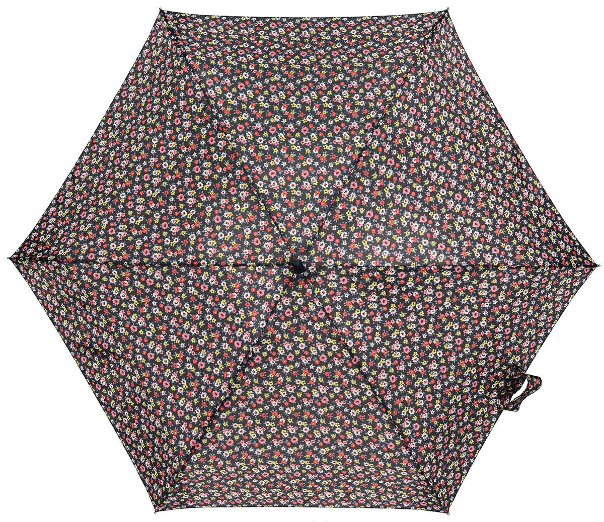 Зонт женский Fulton Cath Kidston, механический, 5 сложений, цвет: черный, мультиколор. L521-3059П300020005-20Компактный женский зонт Fulton выполнен из металла и пластика.Каркас зонта выполнен из шести спиц на прочном алюминиевом стержне. Купол зонта изготовлен из прочного полиэстера. Закрытый купол застегивается на хлястик с липучкой. Практичная рукоятка закругленной формы разработана с учетом требований эргономики и выполнена из натурального дерева.Зонт складывается и раскладывается механическим способом.Зонт дополнен легким плоским чехлом. Такая модель не только надежно защитит от дождя, но и станет стильным аксессуаром.