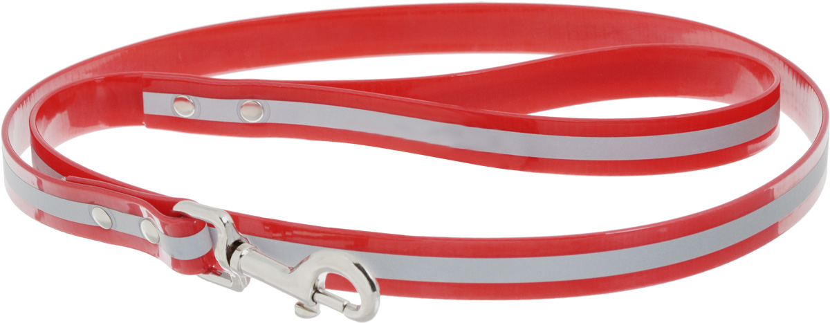 Поводок для собак Каскад Синтетик, со светоотражающей полосой, цвет: красный, ширина 2 см, длина 1,2 м поводок для собак collar soft цвет коричневый диаметр 6 мм длина 1 83 м