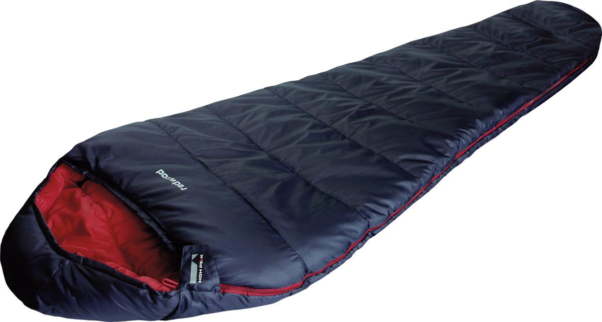 Спальник High Peak Redwood, цвет: темно-синий, красный, левосторонняя молния010-01199-01Достаточно теплый спальник High Peak Redwood подойдет для летних походов по русскому северу и для ночевок при ночных заморозках. Спальник увеличенной ширины (85 см) и длины (230 см). Внешняя ткань из полиэстера 185Т с полиуретановым нанесением в виде сот, а внутренняя ткань хорошо испаряет влагу и приятна при прикосновении к коже. Спальник имеет полноценный капюшон с затяжкой и тепловой воротник на уровне плеч, которые защищают голову и плечи в прохладную ночь. В верхней части молния фиксируется клапаном на липучке Velcro. На молнии два бегунка, которые позволяют расстегнуть спальник со стороны ног и сделать вентиляционное окно. Вдоль молнии идет защита от закусывания замком ткани спальника. Чтобы холодный воздух не проникал сквозь молнию, ее закрывает тепловой клапан. Спальник утеплен двумя слоями силиконизированного утеплителя Dura Loft, смешанного с холлофайбером в соотношении 70%/30% 2х150 г/м2 (300 г/м2) + 2х150 г/м2 (300 г/м2). В комплекте со спальником идет компрессионный транспортировочный чехол объемом 15,8 л.
