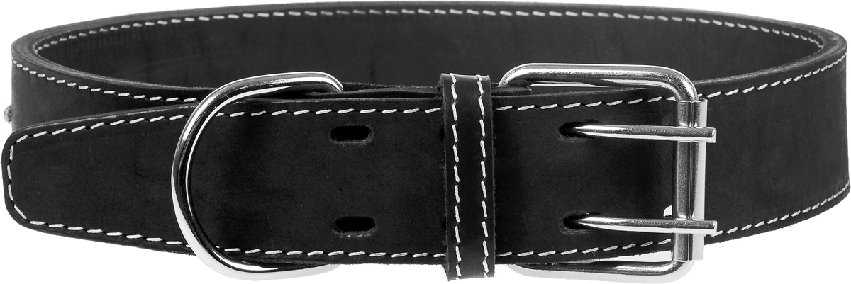 Ошейник для собак Каскад, двойной со стразами, ширина 4,5 см, диаметр 63-72 см, цвет: черныйHB11DОшейник кожаный двойной черный со стразами ширина 45 мм обхв.шеи 63-72см
