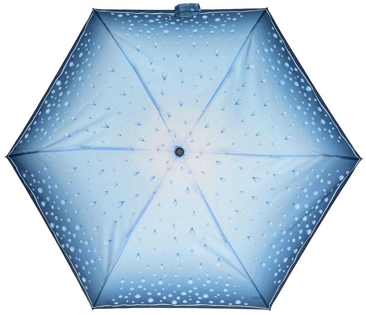 Зонт женский Henry Backer, 5 сложений, цвет: голубой. U34202 Rain dropsCX1516-50-10Легкий женский зонт «Капли дождя», голубой, механика Рукоять выполнена из нескользящего комфортного для ладони материала, ветроустойчивый каркас сделан из алюминия и фибергласса.