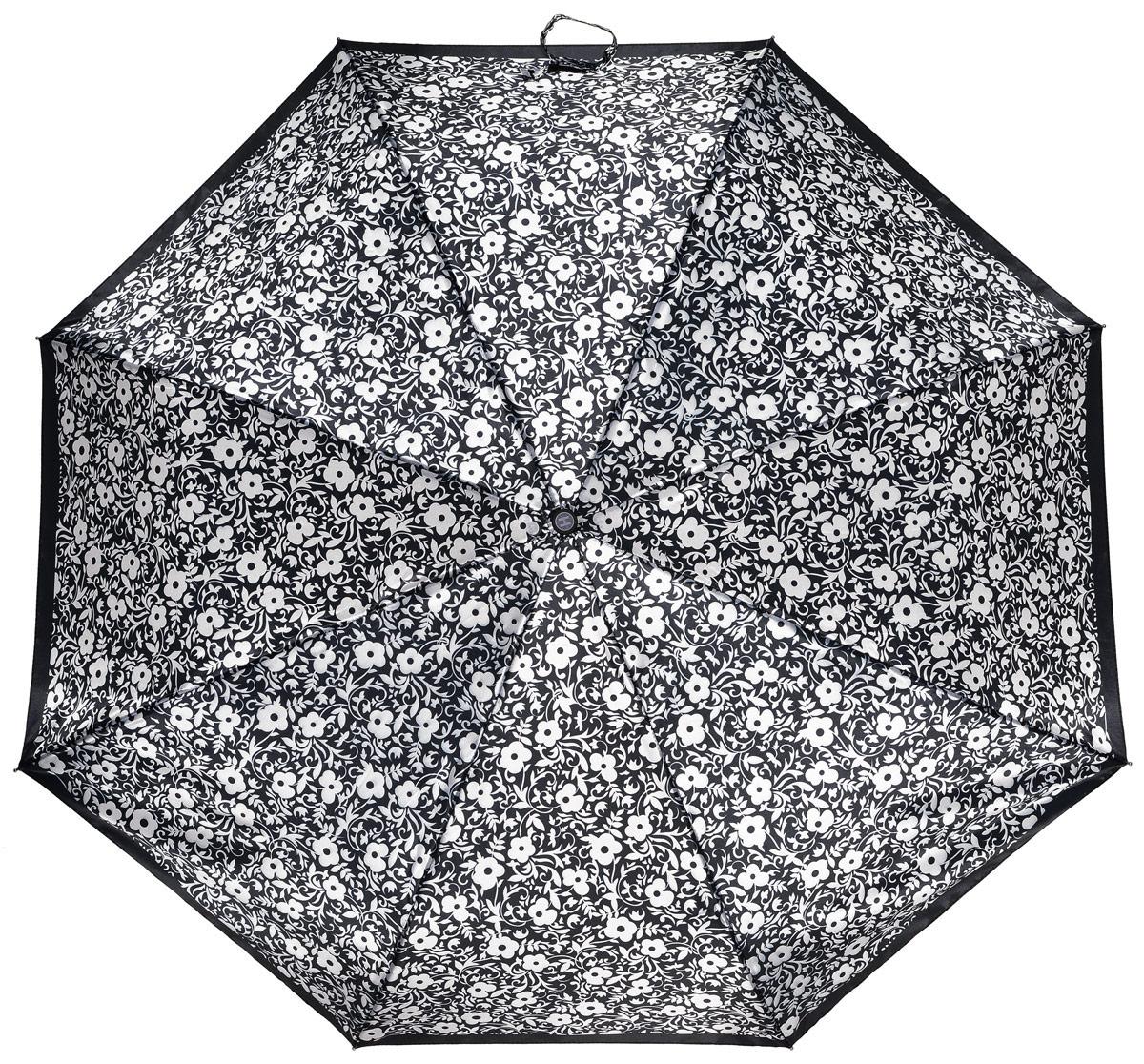Зонт женский Henry Backer, 3 сложения, цвет: черный. U21202 White flowersREM12-CAM-GREENBLACKЭлегантный женский зонт «Белые цветы» с сатиновым куполом, автомат У модели большой ветроустойчивый купол, хорошо защищающий от дождя, и прочный стальной каркас с элементами из фибергласса.