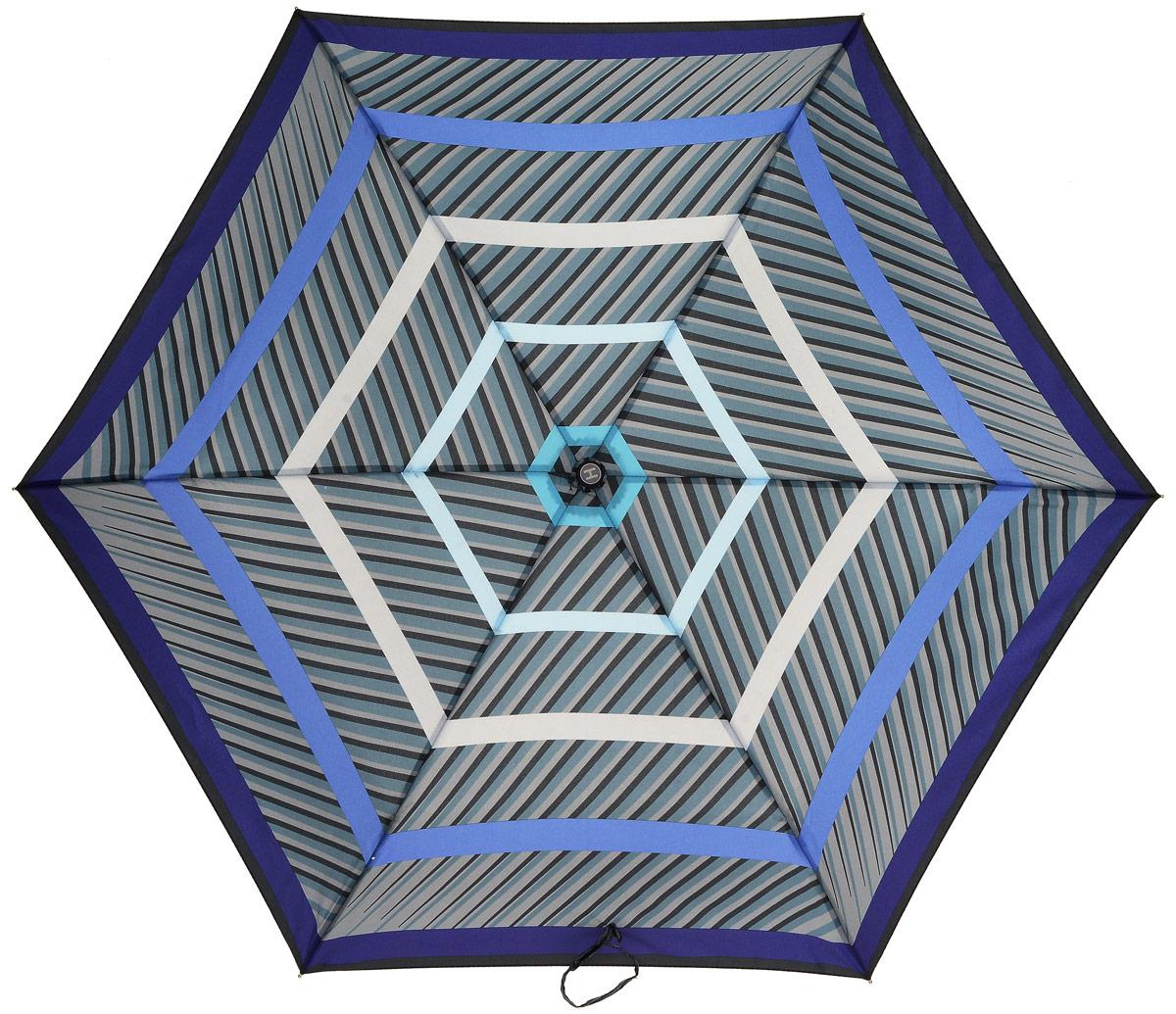 Зонт женский Henry Backer, 3 сложения, цвет: серый. U32202 StripesКолье (короткие одноярусные бусы)Суперлегкий женский зонт «Полоски», синий, механикаКомпактная рукоятка выполнена из нескользящего, комфортного для ладони материала, ветроустойчивый каркас сделан из алюминия и фибергласса.