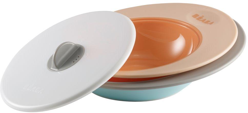 Beaba Набор тарелок для кормления Ellipse цвет персиковый голубой115510Специальная форма тарелок Beaba Ellipse- сохраняет еду ребенка теплой длительное время. Объем тарелок: тарелка - 210 мл, глубокая тарелка - 300 мл. Использование с 6 месяцев. Набор тарелок имеет два положения крышки. Тарелки имеют высокие и широкие края для удобного перемешивания, их выгнутое дно предназначено для естественного распределения пищи по тарелке и удобного захвата ребенком. Тарелки можно использовать в микроволновой печи, они прекрасно сохраняют тепло. Имеют нескользящее основание.