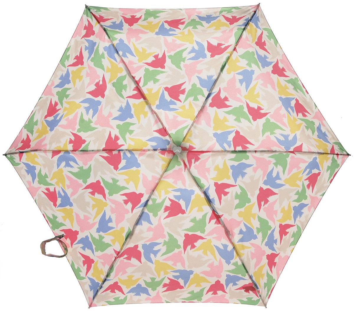 Зонт женский Fulton Cath Kidston, механический, 5 сложений, цвет: мультиколор. L521-312945100032/35449/3537AКомпактный женский зонт Fulton Cath Kidston выполнен из металла и пластика.Каркас зонта выполнен из шести спиц на прочном алюминиевом стержне. Купол зонта изготовлен из прочного полиэстера. Закрытый купол застегивается на хлястик с липучкой. Практичная рукоятка закругленной формы разработана с учетом требований эргономики и выполнена из натурального дерева.Зонт складывается и раскладывается механическим способом.Зонт дополнен легким плоским чехлом. Такая модель не только надежно защитит от дождя, но и станет стильным аксессуаром.
