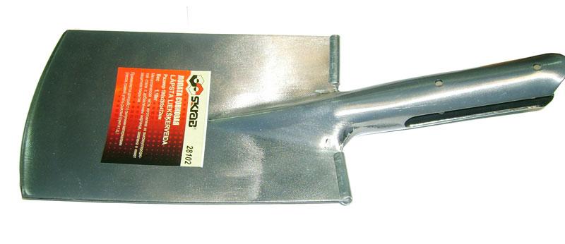Лопата Skrab штыковая, прямоугольная, без черенка. 28102C0042416Лопата штыковая (без черенка).Размер: 180х285х472мм.Металлическая часть изготовлена из высокоуглеродистой стали с добавлением марганца.Закалена и имеет защитное покрытие.Применяется для выполнения земляных и строительных работ.
