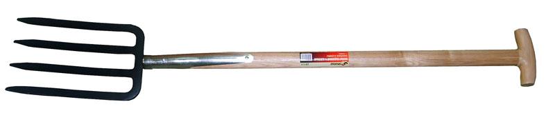 Вилы Skrab, для почвы, 4 зуба, 85 см03176-20.000.00Вилы предназначены для рыхления почвы, а также сбора корнеплодов.Вилы имеют 4 зуба, металлическая часть изготовлена из высокоуглеродистой стали с защитным покрытием.Деревянный черенок изготовлен из твердых пород дерева высшего сорта.