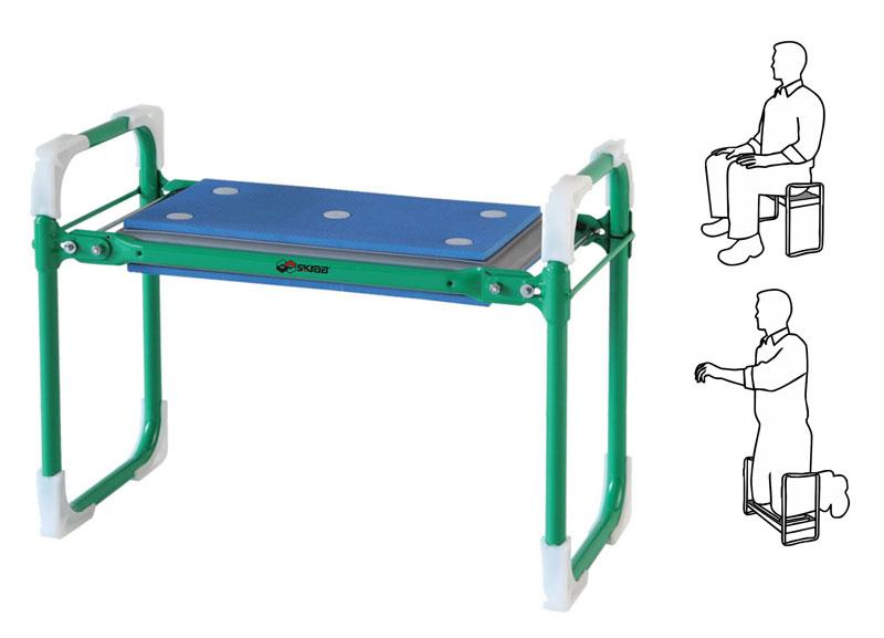 Скамейка Skrab, складная садовая. 28155C0038552Скамейка складная садовая SKRABВыполнена из стали, имеет сборно-разборную конструкцию с мягким прорезиненным основанием подушки (max нагрузка до 140 кг).Скамейка может использоваться как для отдыха, так и для работы - для посадки, прополки и сбора урожая. При переворачивании на 180° получается удобный подколенник с упорными ручками для опускания на колени и опорой для подъема с колен.Устойчивый каркас из стальной трубки и широкое мягкое сиденье с покрытием из пенополиуретана делают эту скамейку надежной и комфортабельной.Легко складывается и занимает совсем немного места.Вес 3 кг.