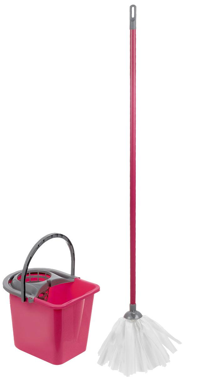 Набор для уборки York Mop Set, цвет: серый, малиновый, 3 предмета. 7201VCA-00Набор для уборки York состоит из рукоятки для швабры, лепестковой насадки и ведра с отжимом. Рукоятка York изготовлена из металла с пластиковым покрытием по всей длине. Изделие оснащено специальным отверстием, которое позволит повесить его на крючок. Универсальная резьба подходит ко всем швабрам и щеткам. Специальная структура микроактивного волокна лепестковой насадки убираетдаже сильные, затвердевшие загрязнения, не оставляя разводов и эффективно впитывает влагу. Благодаря специальному пластиковому ведру со встроенным отжимом, уборка станет быстрой и гигиеничной, так как вы сможете выжимать швабру в предназначенном для этого ведре, не пачкая руки. Ведро оснащено пластиковой ручкой. Набор для уборки York предназначен для уборки любых типов напольных покрытий, включая паркет и ламинат. Такой набор сделает уборку легкой и обеспечит идеальную чистоту вашего пола без разводов и царапин. Размер ведра по верхнему краю: 36 х 25 см.Высота ведра: 27 см. Объем ведра: 14 л. Длина черенка: 108 см. Диаметр черенка: 2 см. Средняя длина волокон лепестковой насадки: 19,5 см. Диаметр отверстия для черенка: 2 см.