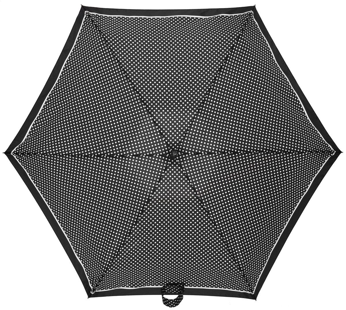 Зонт женский Fulton, механический, 5 сложений, цвет: черный, белый. L501-2248K60K603557_0130Компактный женский зонт Fulton выполнен из металла и пластика.Каркас зонта выполнен из шести спиц на прочном алюминиевом стержне. Купол зонта изготовлен из прочного полиэстера. Закрытый купол застегивается на хлястик с липучкой. Практичная рукоятка закругленной формы разработана с учетом требований эргономики и выполнена из каучука.Зонт складывается и раскладывается механическим способом.Зонт дополнен легким плоским чехлом. Такая модель не только надежно защитит от дождя, но и станет стильным аксессуаром.