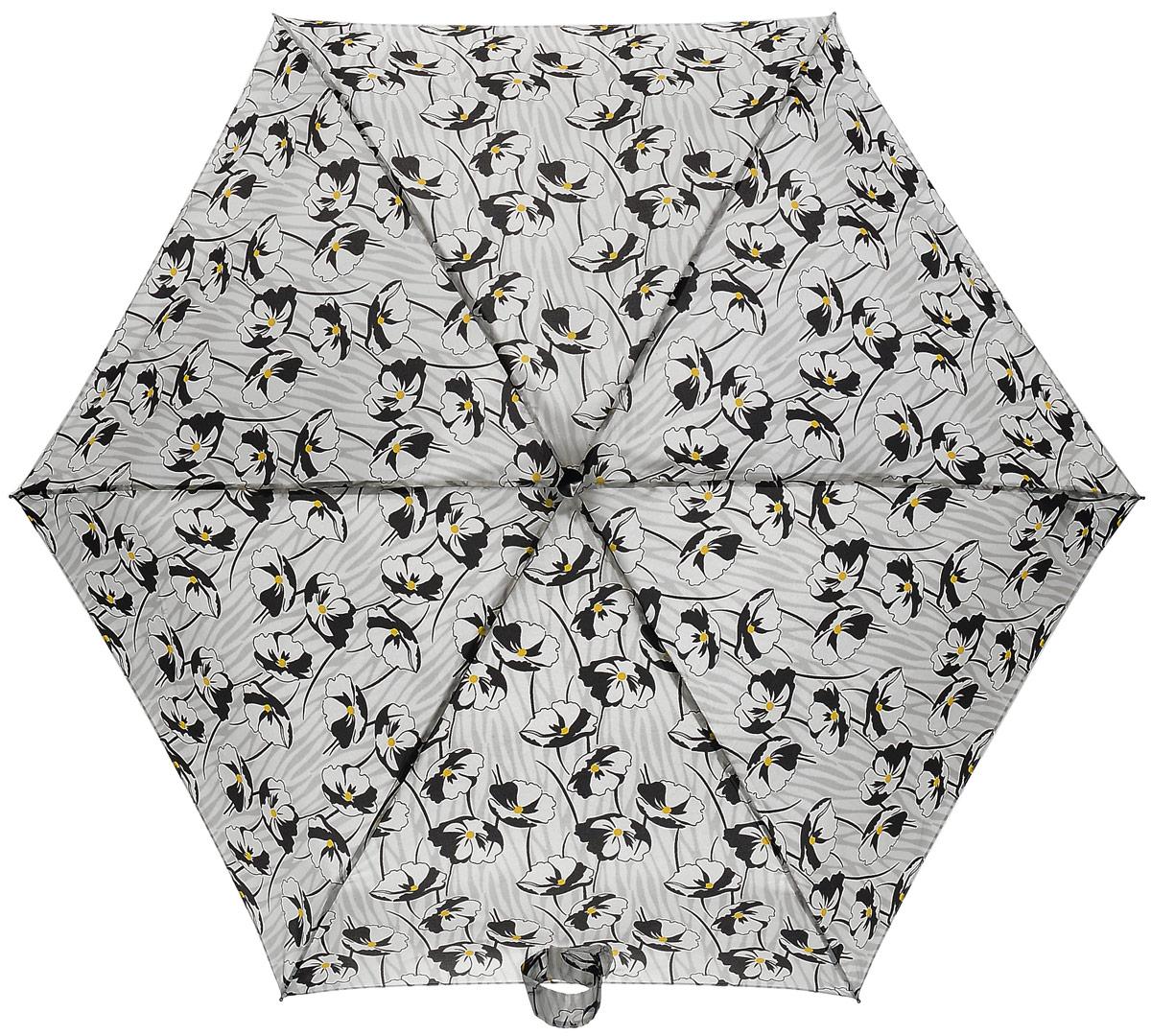 Зонт женский Fulton, механический, 5 сложений, цвет: серый, черный. L501-261545100636-1/18466/4900NКомпактный женский зонт Fulton выполнен из металла, пластика и оформлен принтом с цветами.Каркас зонта выполнен из шести спиц на прочном стержне. Купол зонта изготовлен прочного полиэстера. Закрытый купол застегивается на хлястик с липучкой. Практичная рукоятка закругленной формы разработана с учетом требований эргономики и выполнена из натуральной кожи.Зонт складывается и раскладывается механическим способом.Зонт дополнен легким плоским чехлом. Такая модель не только надежно защитит от дождя, но и станет стильным аксессуаром.