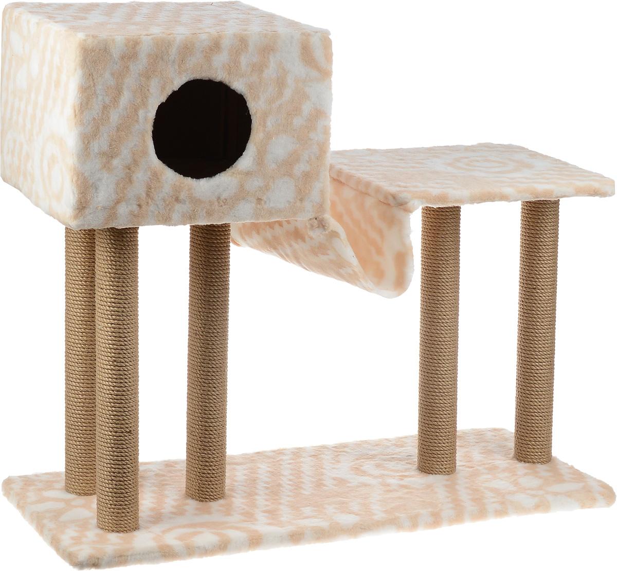 Игровой комплекс для кошек Меридиан, с домиком и гамаком, цвет: белый, бежевый, 90 х 40 х 1080 см0120710Игровой комплекс для кошек Меридиан выполнен из высококачественного ДВП и ДСП и обтянут искусственным мехом. Изделие предназначено для кошек. Ваш домашний питомец будет с удовольствием точить когти о специальные столбики, изготовленные из джута. А отдохнуть он сможет в домике, на полках или в удобном гамаке.Общий размер: 90 х 40 х 80 см.Размер основания: 90 х 40 см.Высота полки: 53 см.Размер домика: 40 х 40 х 28 см.Размер полки: 39 х 39 см.