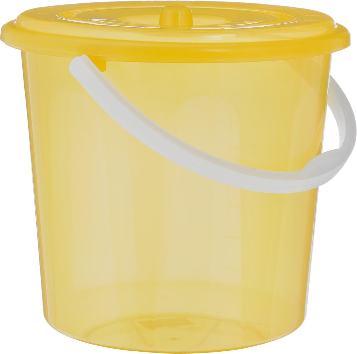 Ведро Альтернатива Хозяюшка, с крышкой, цвет: желтый, 10 л4606400105459Ведро Альтернатива Хозяюшка изготовлено извысококачественного пластика и оснащеноотметками литража. Оно легче железного и неподвержено коррозии. Ведро имеет удобную пластиковуюручку и закрывается крышкой. Такое ведро станет незаменимым помощником вхозяйстве. Идеально для хранения пищевых отходов.Диаметр: 27 см.Высота (без учета крышки): 26 см.