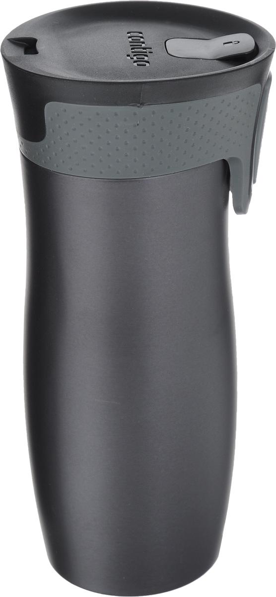 Термокружка Contigo West Loop, цвет: серый, черный, 470 мл115610Термокружка Contigo West Loop, изготовленная из высококачественной нержавеющей стали и пищевого пластика, подходит как для холодных, так и для горячих напитков. Изделие оснащено крышкой с открывающимся клапаном, который предохранит от проливания. Диаметр (по верхнему краю): 6,5 см. Высота кружки (с учетом крышки): 20 см.