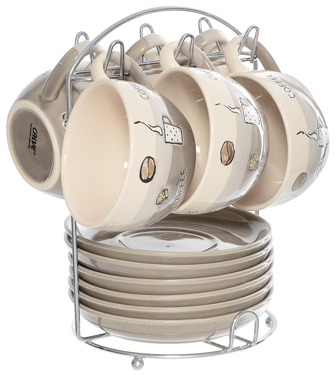 Набор чайный Calve. Кофе, на подставке, 13 предметов115510Набор Calve. Кофе состоит из шести чашек и шести блюдец, изготовленных из высококачественной керамики. Чашки оформлены стильным рисунком и надписями. Изделия расположены на металлической подставке. Такой набор подходит для подачи чая или кофе.Изящный дизайн придется по вкусу и ценителям классики, и тем, кто предпочитает утонченность и изысканность. Он настроит на позитивный лад и подарит хорошее настроение с самого утра. Чайный набор Calve. Кофе - идеальный и необходимый подарок для вашего дома и для ваших друзей в праздники.Можно мыть в посудомоечной машине. Объем чашки: 220 мл. Диаметр чашки (по верхнему краю): 9,5 см. Высота чашки: 6,3 см. Диаметр блюдца: 14,5 см. Высота блюдца: 2,3 см.Размер подставки: 16,5 х 16 х 22,5 см.