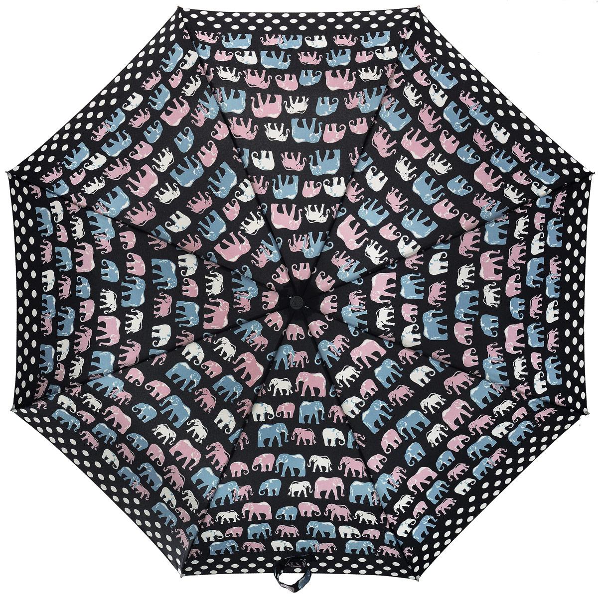 Зонт женский Fulton, механический, 3 сложения, цвет: черный, мультиколор. L354-3034CX1516-50-10Стильный зонт Fulton имеет 3 сложения, даже в ненастную погоду позволит вам оставаться стильной. Легкий, но в тоже время прочный и ветроустойчивый каркас из фибергласса состоит из восьми спиц с износостойкими соединениями. Купол зонта выполнен из прочного полиэстера с водоотталкивающей пропиткой. Рукоятка разработанная с учетом требований эргономики, выполнена из настоящего каучука.Зонт механического сложения: купол открывается и закрывается вручную до характерного щелчка. Такой зонт не только надежно защитит вас от дождя, но и станет стильным аксессуаром, который идеально подчеркнет ваш неповторимый образ.