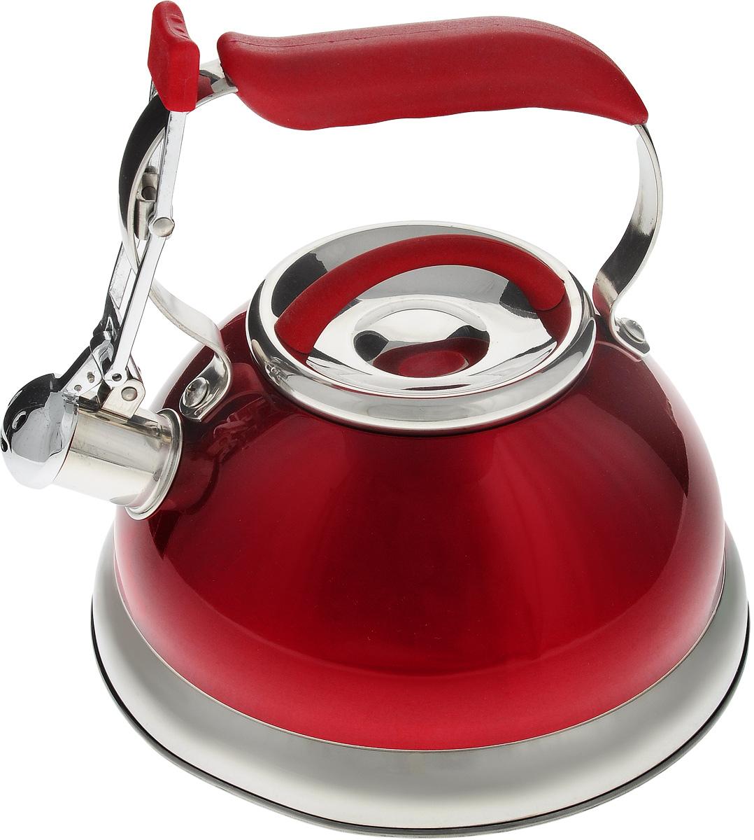 Чайник Calve, со свистком, цвет: красный, 2,7 л68/5/4Чайник Calve изготовлен из высококачественной нержавеющей стали с термоаккумулирующим дном. Нержавеющая сталь обладает высокой устойчивостью к коррозии, не вступает в реакцию с холодными и горячими продуктами и полностью сохраняет их вкусовые качества. Особая конструкция дна способствует высокой теплопроводности и равномерному распределению тепла. Чайник оснащен удобной пластиковой ручкой с покрытием Soft-Touch. Носик чайника имеет откидной свисток, звуковой сигнал которого подскажет, когда закипит вода. Подходит для всех типов плит, включая индукционные. Можно мыть в посудомоечной машине.Диаметр чайника (по верхнему краю): 10 см.Высота чайника (без учета ручки и крышки): 11,5 см.Высота чайника (с учетом ручки): 21 см.