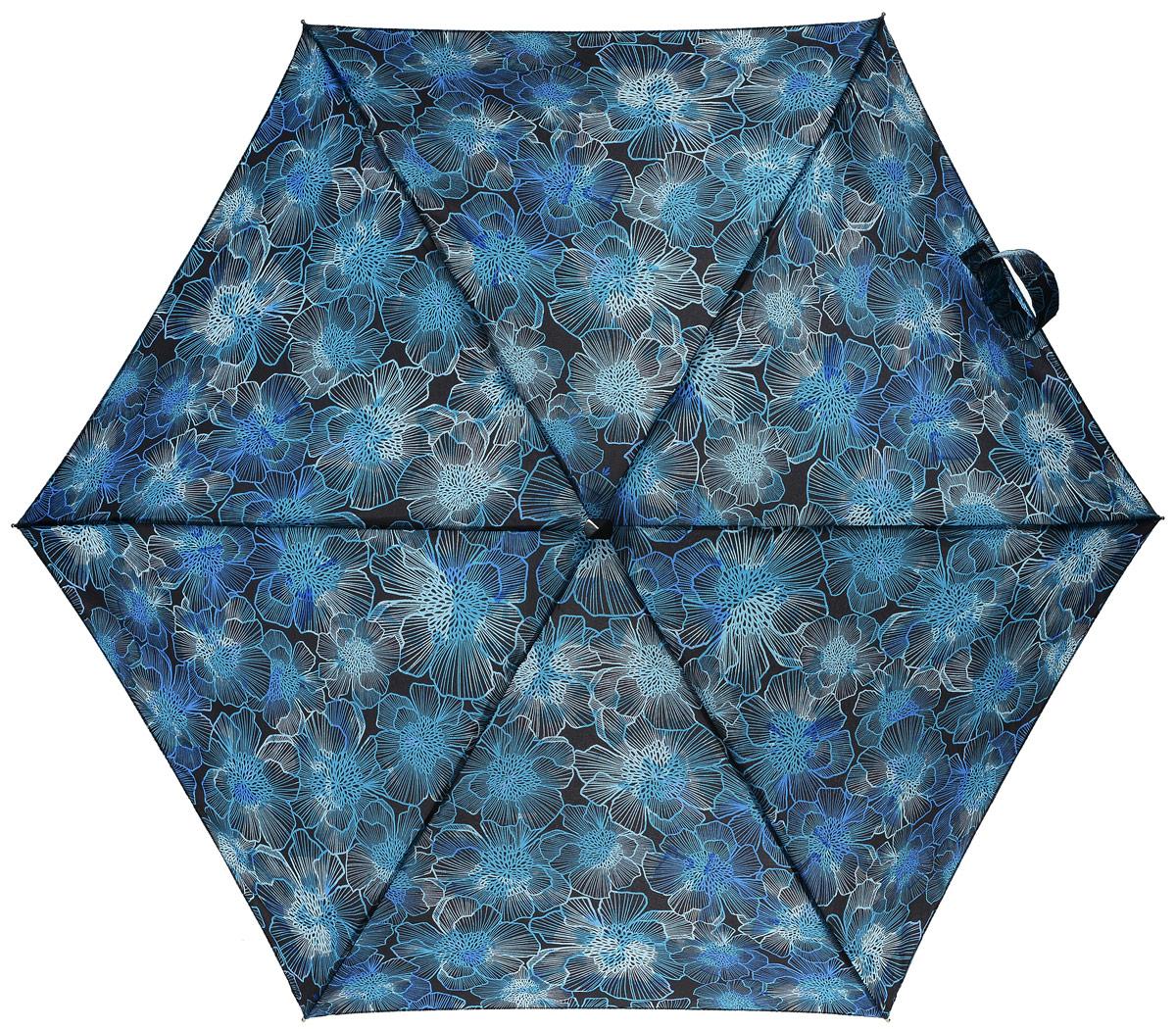 Зонт женский Fulton, механический, 5 сложений, цвет: черный, голубой. L501-3024REM12-CAM-GREENBLACKКомпактный женский зонт Fulton выполнен из металла, пластика и оформлен принтом с цветами. Каркас зонта выполнен из шести спиц на прочном стержне. Купол зонта изготовлен прочного полиэстера. Закрытый купол застегивается на хлястик с липучкой. Практичная рукоятка закругленной формы разработана с учетом требований эргономики и выполнена из натурального дерева.Зонт складывается и раскладывается механическим способом.Зонт дополнен легким плоским чехлом. Такая модель не только надежно защитит от дождя, но и станет стильным аксессуаром.