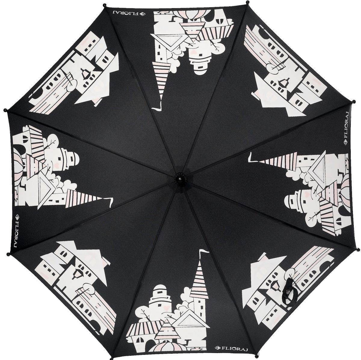 Зонт детский Flioraj, механика, трость, цвет: черный, белый. 051207REM12-CAM-REDBLACKСказочный зонт-раскраска! Дождь раскрасит безликие, белые здания в радужные, веселые домики. Под таким зонтом дождь - только в радость. Широкий выбор расцветок позволит найти подходящий вариант. Детский зонтикFlioraj с поверхностью реагирующей на воду, при намокании рисунок становится цветным, он обязательно понравится Вам и Вашему ребенку! Предназначен для детей младшего и среднего школьного возраста. Для удобства предусмотрена безопасная технология открывания и закрывания зонта. Спицы зонта изготовлены из долговечного, но при этом легкого фибергласса, что делает его ветроустойчивым и прочным.