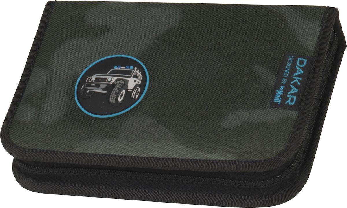 McNeill Пенал Дакар72523WDПрактичный школьный пенал Mc Neill Дакар станет для вашего ребенка незаменимым спутником в школе. Модель на застежке-молнии отличается оригинальным дизайном и хорошим качеством используемых материалов. Пенал выполнен из прочной синтетической ткани и содержит одно отделение с двумя откидными клапанами и креплениями для канцелярских принадлежностей внутри. Клапаны дополнены прозрачными пластиковыми карманами.