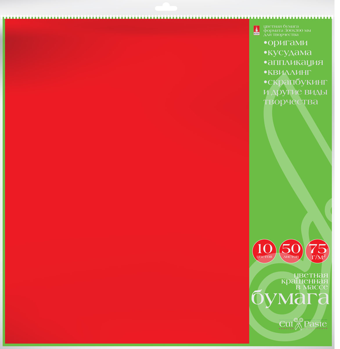 Альт Набор бумаги для хобби 50 листов 10 цветов 300 х 300 мм72523WDНабор бумаги для хобби Альт включает в себя 50 листов бумаги 10 цветов.Тонированная в массе бумага обладает высоким качеством и плотностью, что позволяет использовать ее для поделок в любой технике, комбинировать с картоном и текстилем.Детские аппликации из цветной бумаги - хороший способ самовыражения ребенка и развития творческих навыков. Создание различных поделок с помощью этого набора увлечет вашего ребенка и подарит вам хорошее настроение.