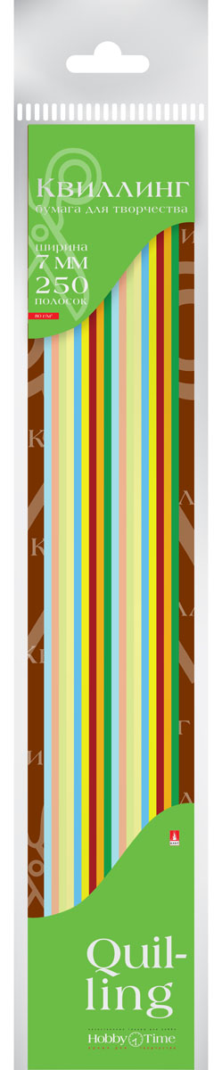 Альт Бумага для квиллинга 7 мм 250 полос 10 цветов72523WDЦветная бумага для квиллинга Альт разработана для создания объемных композиций, украшений для открыток и фоторамок. Набор из 250 полосок включает 10 ярких, насыщенных цветов (по 25 штук каждого). Высокая плотность позволяет готовым спиральным элементам держать форму, не раскручиваясь и не деформируясь. Ширина полосок составляет 7 мм. Тонированная в массе бумага предназначена для скручивания в спирали с последующим приданием нужной формы.