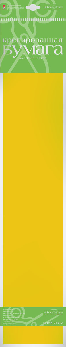 Альт Бумага креповая Флюоресцентная цвет желтый0142-1010Креповая бумага Альт Флюоресцентная - подходящий материал для декора, объемных украшений и игрушек. Гофрированная жатая поверхность обеспечивает особую пластичность. Бумага не деформируется, сохраняет заданную форму, отлично сочетается с текстильными лентами, декоративными элементами. Необычный флуоресцентный эффект создает легкое сияние, которое поможет создать атмосферу праздника.Размер листа: 50 см х 250 см.