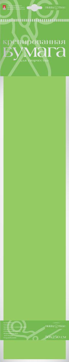 Альт Бумага креповая Флюоресцентная цвет зеленый72523WDКреповая бумага Альт Флюоресцентная - подходящий материал для декора, объемных украшений и игрушек. Гофрированная жатая поверхность обеспечивает особую пластичность. Бумага не деформируется, сохраняет заданную форму, отлично сочетается с текстильными лентами, декоративными элементами. Необычный флуоресцентный эффект создает легкое сияние, которое поможет создать атмосферу праздника.Размер листа: 50 см х 250 см.
