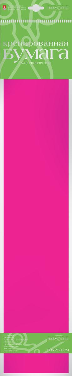 Альт Бумага креповая Флюоресцентная цвет розовый2-059/04Креповая бумага Альт Флюоресцентная - подходящий материал для декора, объемных украшений и игрушек. Гофрированная жатая поверхность обеспечивает особую пластичность. Бумага не деформируется, сохраняет заданную форму, отлично сочетается с текстильными лентами, декоративными элементами. Необычный флуоресцентный эффект создает легкое сияние, которое поможет создать атмосферу праздника.Размер листа: 50 см х 250 см.
