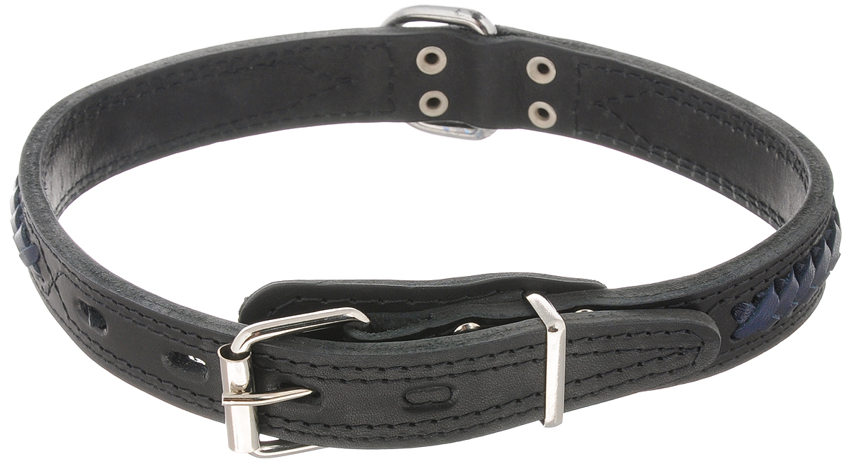 Ошейник для собак Каскад Элита, тройной, цвет: черный, синий, ширина 2,5 см, обхват шеи 43-51 см12171996Ошейник для собак Каскад Элита изготовлениз натуральной кожи, устойчивой к влажности и перепадамтемператур. Клеевой слой, сверхпрочные нити,крепкие металлические элементы делаютошейник надежным и долговечным.Изделие отличается высоким качеством,удобством и универсальностью. Ошейник украшен вставками в виде плетеных кос.Размер ошейника регулируется при помощипряжки, зафиксированной на одном из 4отверстий. Минимальный обхват шеи: 43 см. Максимальный обхват шеи: 51 см. Ширина: 2,5 см.