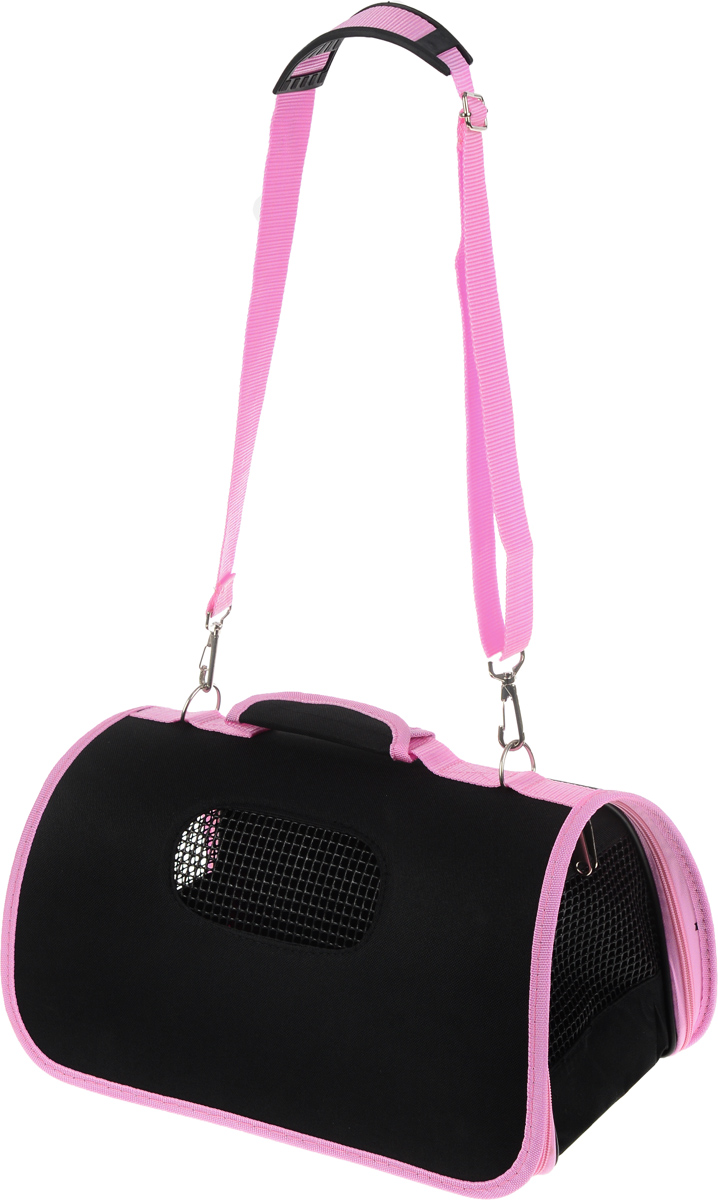 Сумка-переноска для животных Каскад, складная, цвет: черный, розовый, 36 х 22 х 22 см сумка переноска каскад collection с белыми буквами цвет черный 38х17 см