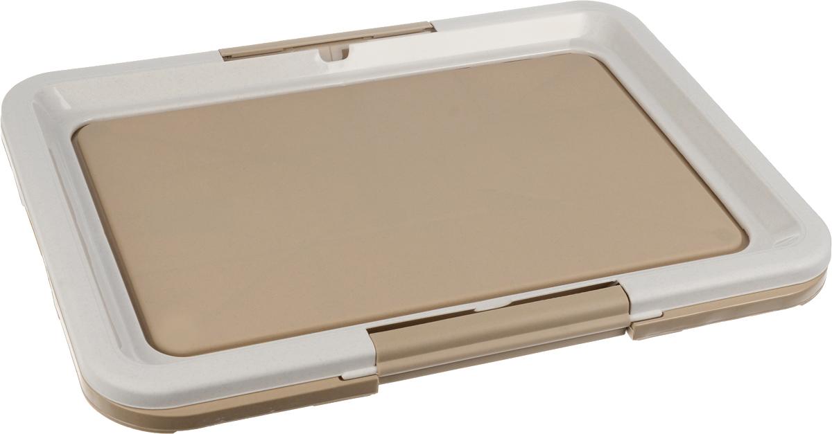 Туалет для собак Каскад, под пеленки, цвет: серый, светло-коричневый, 63 х 48 х 4 см0120710Туалет Каскад, изготовленный из высококачественного пластика, предназначен для собак и щенков. Гигиеническая пеленка помещается под борт и удерживается боковыми фиксаторами. Туалет легко моется водой.Гигиеническая пеленка в комплект не входит.