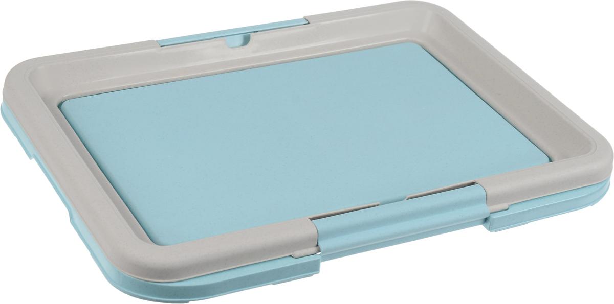 Туалет для собак Каскад, под пеленки, цвет: серый, голубой, 47 х 34 х 4 см17532Туалет Каскад, изготовленный из высококачественного пластика, предназначен для собак и щенков. Гигиеническая пеленка помещается под борт и удерживается боковыми фиксаторами. Туалет легко моется водой.Гигиеническая пеленка в комплект не входит.